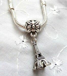 Silver EIFFEL TOWER Pendant Charm Bead for European Charm Bracelet or Necklace