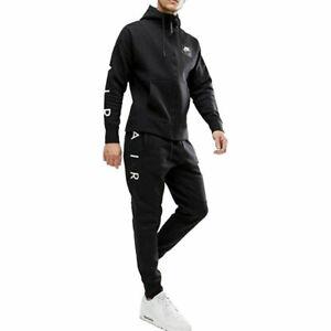 Nike Air Logo Mens Fleece Hoodie Jogger Full Tracksuit Black Skinny Fit