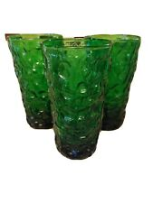 3 Forest Green 12 ounce Tumblers Anchor Hocking Lido Milano