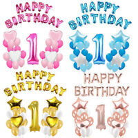 Happy Birthday Confetti Balloon Number First Baby Party Decor 1 Year Supplies