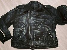 Vintage 1980's Leather punk motorcycle Jacket, Black, size 46, by LG