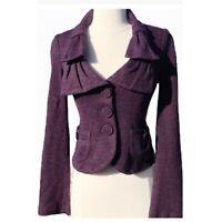Nanette Lepore Womens Sneak Out Knit Jacket Blazer Sz S Purple Multi Wool Blend