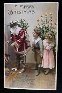 HTL ~Hold To Light~Christmas Postcard~Santa Claus with Children~Tree~1910--h823