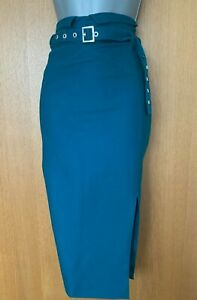 Karen Millen UK12 Green Buckle Belt Work Office Formal Pencil Midi Skirt EU 40