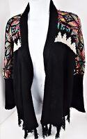 Medium Adore Black Open Front Cardigan Sweater Festival Drape Rainbow Star