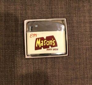 Vintage MASONS ROOT BEER Advertising Lighter Original Box 2 Sided Labeling