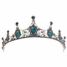 Fashion Elegant Vintage Small Baroque Green Tiaras Crowns For Women Girls B E5S8