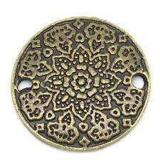 10 Bronze Pewter Round MANDALA FLOWER Circle 2-hole Charm Beads 19mm chb0217