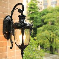 Vintage Water Glass Metal Lantern Outdoor Garden Wall Lights Sconce Black/Brass