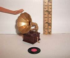 FASHION DOLL RE-MENT ACCESSORY MINIATURE PHONOGRAPH RECORD PLAYER FOR DIORAMA