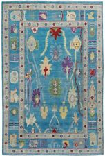 Vegetable Dye Turquoise Blue Oushak Turkish Oriental Area Rug Hand-Knotted 5'x8'