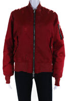 Unravel Project Distressed Long Sleeve Bomber Jacket Red Size 40 Italian