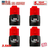 4X For Milwakee M12 LITHIUM Compact Battery 48-11-2420 XC 3.5Ah 48-11-2412 12V