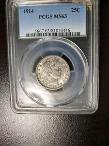 1914 Barber Quarter PCGS MS 63 Nice Coin Very Light Purplish Tone