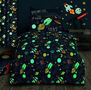 Cotton Rich Space Print Single Bed Duvet Cover & Pillowcase Set