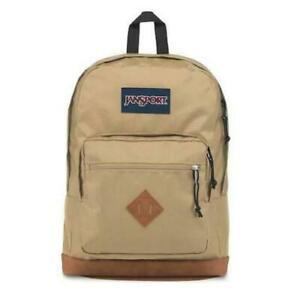NWT JANSPORT City View Backpack Leather Bottom Field Tan Free Shipping