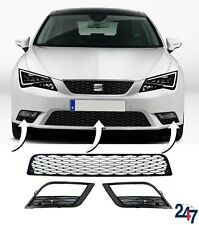 NEW SEAT LEON 5F 12-17 FRONT BUMPER CENTER LOWER GRILLE AND FOG LIGHT GRILL SET