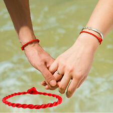 2 Pcs Hand Braided Chinese Red Simple Style Lucky String Rope Cord Bracelet