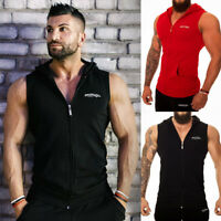 Mens Sleeveless Casual Sweat Shirt Zip Up Hoodie Sport Muscle Gym Vest Tank Tops