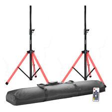 2x Ibiza Sound LED Illuminated Speaker Stand Tripod Light Disco DJ RGB inc Bag
