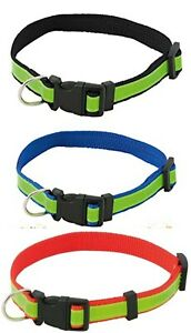 REFLECTIVE HIGH VIS DOG COLLAR WITH QUICK RELEASE SIDE CLIP REFLECTIVE SAFETY UK