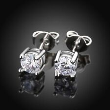 6mm Men Women Sterling Silver Post Stud Crown Cubic Zirconia Earrings Gift