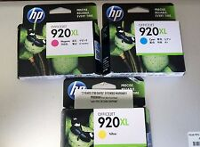 HP 920XL Cyan Magenta Yellow Ink Cartridges Combo 3-Pack 7500 - Sealed Boxes