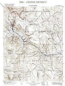 """1916 USGS Creede Colorado ~Topo~ Mining~24""""x18"""""""
