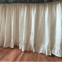 Solid White SPLIT Corner EDGE Ruffle Gathered Bed Skirt 800 TC Cotton All Size