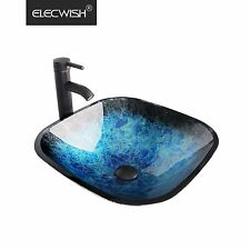 Bathroom Vessel Sink Tempered Glass Basin Bowl Faucet Counter Top Square Blue US