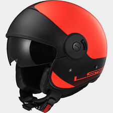 LS2 OF597 CABRIO FIBREGLASS RETRO HELMET WITH SUN VISOR, SMALL, FLUORO RED / BLK