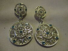 AVON Ultimate Challenger Drop Earrings - Blue Rhinestones on Ornate Silvertone