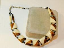 Faux Bone Bead Ethnic Tribal Collar style Plastic Bead Necklace 9e 88