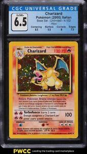 2000 Pokemon Italian Base Set Holo Charizard #4 CGC 6.5 EXMT+