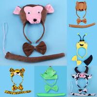 Birthday Girls Boys Kid Cartoon Bear Bee Monkey Costume Set Headband Bowtie Tail