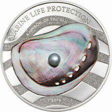 Palau 2015 Green Pearl 5 Dollars Colour Silver Coin,Proof