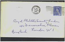CANADA, Postcard 1953 5c envelope to London, fine (D)