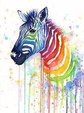 Rainbow Zebra Olga Shvartsur Animal Illustration Print Poster 20x26