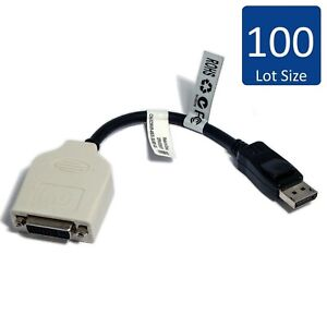 Lot of 100 Dell DisplayPort DP to DVI Cable Adapter 23NVR 023NVR CN-023NVR
