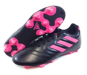 Youth Kids Girls Adidas FV2895 Goletto VII FG Black Pink Soccer Cleats Shoes