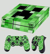 PS4 peau vert Pixel Monster Block Fantôme Autocollant + Pad DECALS VINYL Lay Plat
