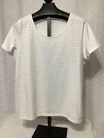 Laura Scott Woman Knit Top Sz 2X White Short Sleeves Floral Lace Front