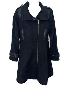 Badgley Mischka Women's Trench coat  Black Wool Blend Leather Trim Coat Small