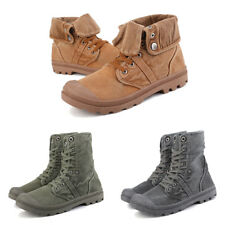 2018 Men's High Top Canvas Sneaker Flanging Ankle Mid-Calf Boots Vintage Shoes