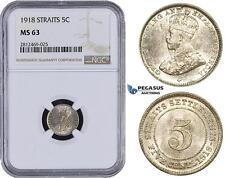 AA087, Straits Settlements, George V, 5 Cents 1918, Silver, NGC MS63