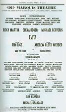 Playbill + Evita + Opening Night + Michael Cerveris , Ricky Martin , Elena Roger