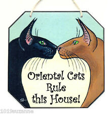 Oriental Cat art sign rule hanging house sign from painting by Suzanne Le Good