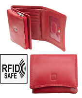 Prime Hide Womens Small Red Leather Purse Pouch Wallet RFID Blocking Boxed New