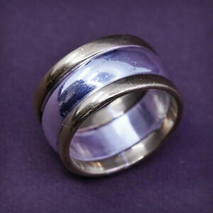 Size 5.5, vtg two tone Sterling silver handmade ring, 925 band with brass trim