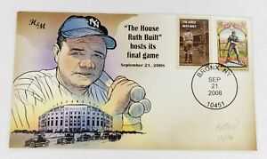Bevil HP H&M Babe Ruth Yankee Stadium Final Game Event Cover Cachet Sep 21 2008